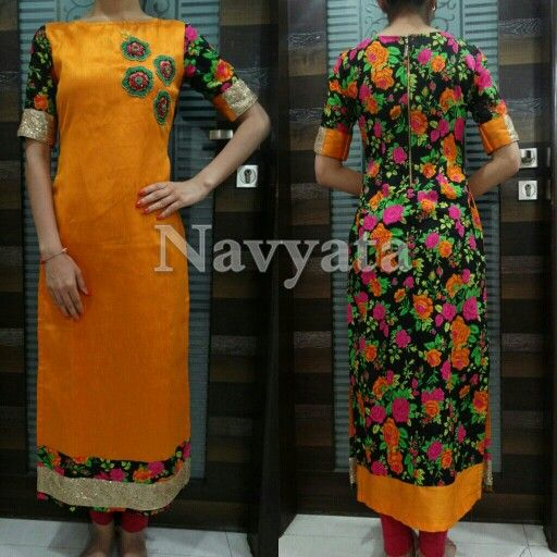 Plain and Printed Raw silk kurti with handwork on yoke. For futher details contact us on + 919892398900, + 919930413660
