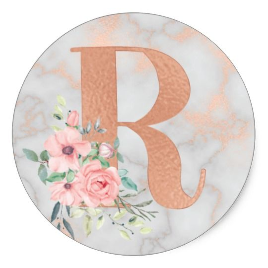 Rose Gold Marble Pink Flowers Monogram Letter R Classic Round Sticker Zazzle Com In 2021 Floral Monogram Letter Flower Drawing Design Rose Gold Marble