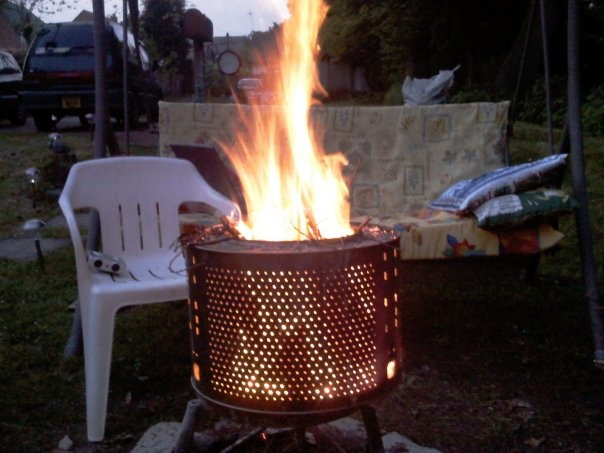 transform an old washing machine drum into a fire pit. Black Bedroom Furniture Sets. Home Design Ideas