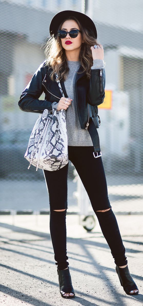 This leather bomber, black leggings, grey tee or sweatshirt, python hobo bag, and black felt hat with strapped heels & sunnies is a repeat-it-weekly look, and don't worry, they will still envy your style.
