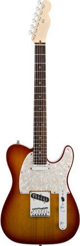 Fender American Deluxe Telecaster® Electric Guitar, Aged Cherry Burst, Rosewood Fretboard by Fender. $1649.99. Tone, tradition and innovation. Fender's new American Deluxe Telecaster is the 21st century way to rock with a Telecaster. The compound radius freeboard allows effortless string bending anywhere along the neck, and staggered locking tuners improve tuning stability for stunt guitarists who like to bend behind the nut. New N3 Noiseless pickups provide imp...