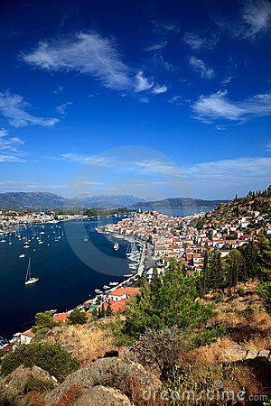 View on Poros and Galatos, Greece