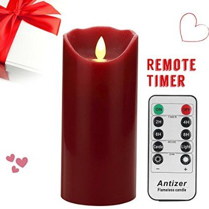 """Antizer Flameless LED Candles 7"""" Burgundy Color Dripless Real Wax Pillars Include Realistic Dancing Flames and 10-key Remote Control with 24-hour Timer Function"""