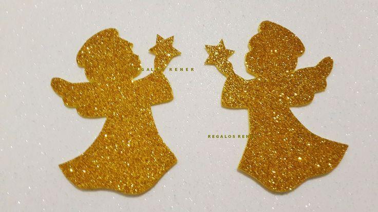 Ángeles de navidad de goma eva glitter
