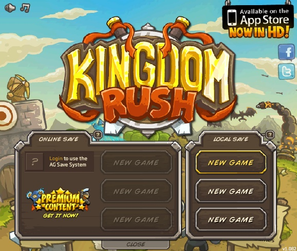 Kingdom Rush. Flash game - very well design of a classic tower defense game. Good rewards and game mechanic. Very good development and design. Even with small references to well known fantasy. Strategy builder. Difficult to be enjoyed. Even to spend a couple of bucks there worth the good design.