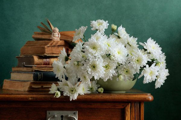 Still Life Art Print featuring the photograph White Chrysanthemums by Nikolay Panov