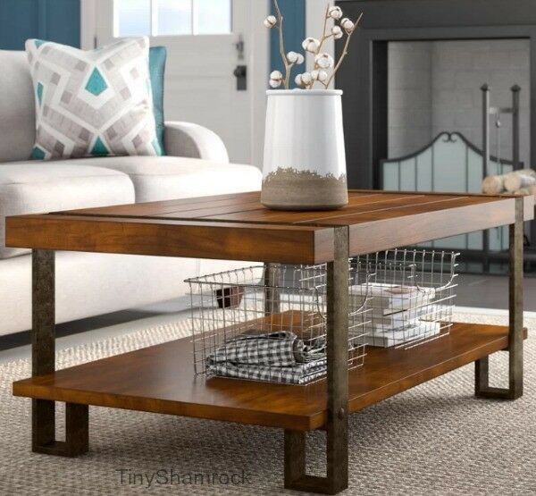 Industrial Farmhouse Style Coffee Table Rustic Wood Metal Living Room Large New It Is A Rec Coffee Table Farmhouse Style Coffee Table Decorating Coffee Tables