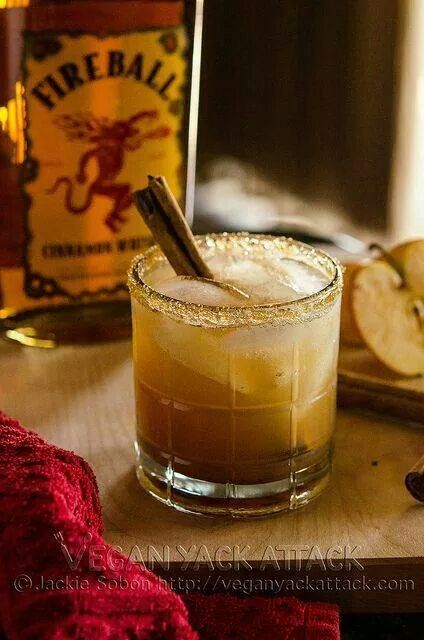 Apple Pie on the Rocks Rim glass with Brown sugar 4oz apple juice or cider 1oz Fireball Whiskey 1oz Vanilla Vodka Pinch of ground cinnamon Mix in shaker and pour over ice Garnish with cinnamon sticks
