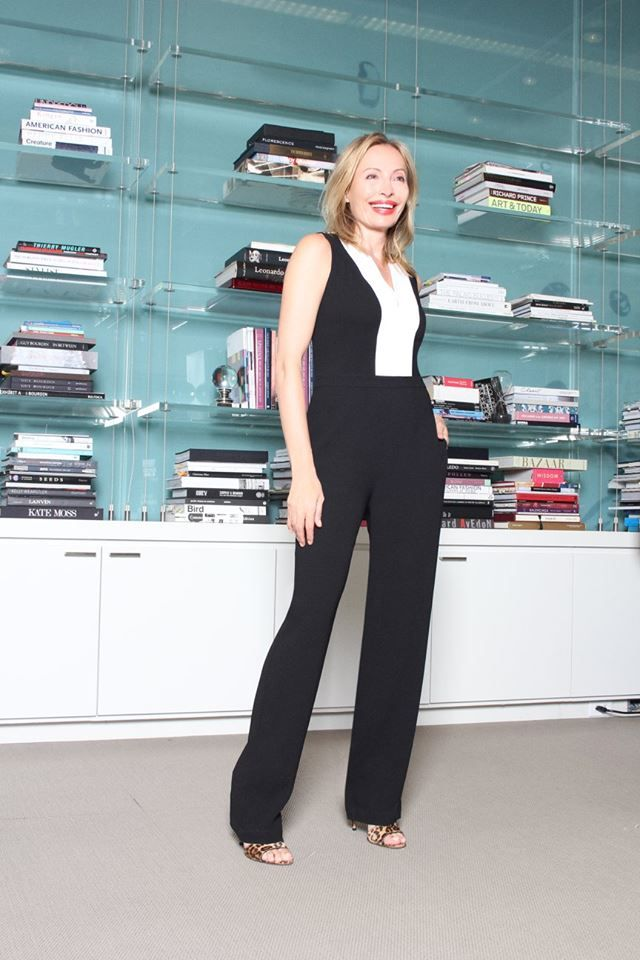 """Tuesday, October 20 """"The seasons must-have jumpsuit gets a cool twist in classic black and white with chic tuxedo details borrowed from the boys.""""-Lubov Azria Get Lubov's look: http://bit.ly/1MCKdMD"""