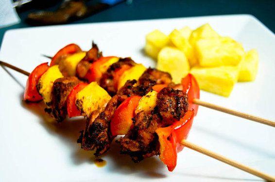 Jerk Chicken & Mango Kabobs | Recipe
