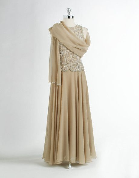 jkara evening gowns   dresses j kara petites sleeveless beaded gown with scarf this stunning ...