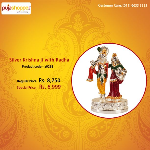 Silver Krishna ji with Radha   product code - a0288   Special price Rs 6,999   #Krishna #Corporategift #Pujashoppe