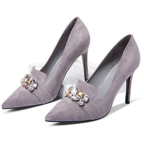 Grey Suede Rhinestones Decoration Court Shoes ($84) ❤ liked on Polyvore featuring shoes, pumps, rhinestone pumps, suede pumps, gray pumps, embellished shoes and rhinestone shoes