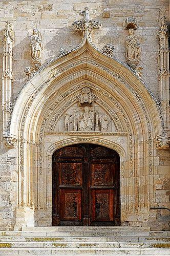 Church Door, Burgos, Spain. The city forms the principal crossroad of northern Spain along the Camino de Santiago