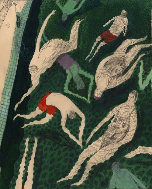 Verano, piscina - Ilustración Jamie Tobin