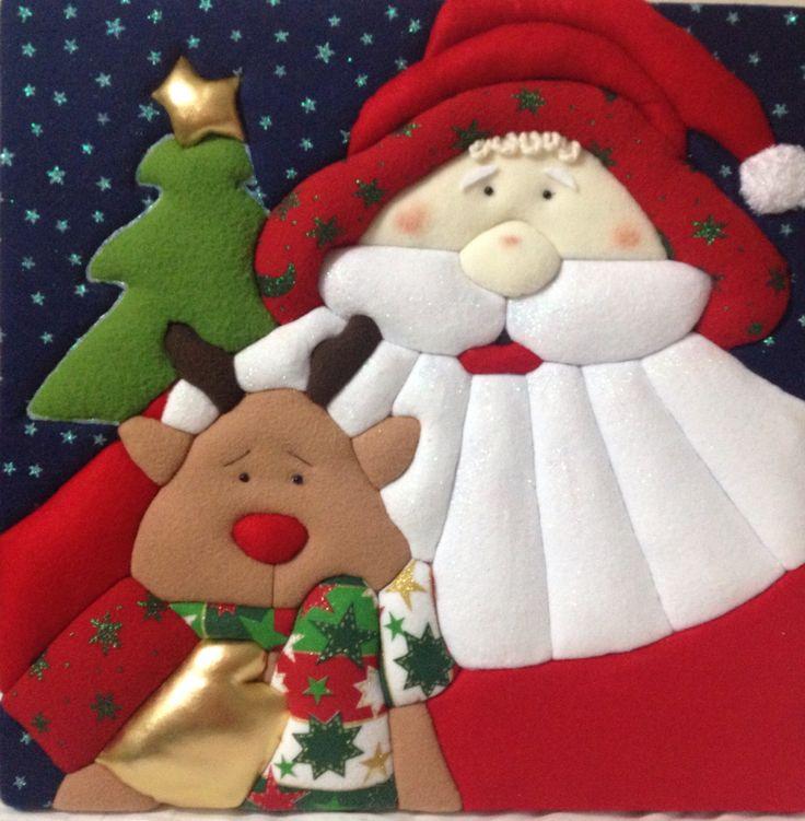 Noel, Santa, cuadro navideño, PATCHWORK sin aguja. Mis creaciones. Reno y Santa