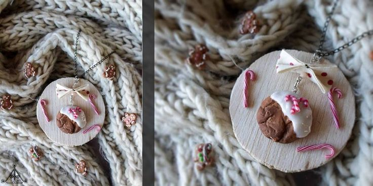 Christmas candy cane gingerbread sweet cookie necklace | polymer clay cute jewelry  find it here: https://www.facebook.com/AA-Handmade-Jewelry-297747360352236/?ref=ts&fref=ts