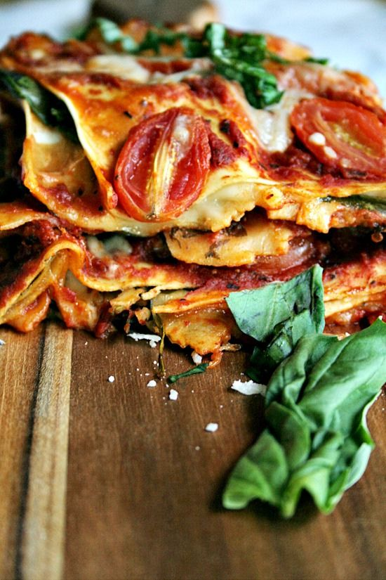 Vegetarian Lasagne - but with homemade pasta, and lots of cheese, maybe some roast pumpkin too...yum :)