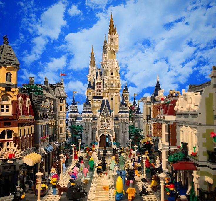 My own Disneyland Main street USA made out by over 30000 pieces (and a photoshopped sky) #disney #lego #mainstreetusa #cinderellacastle #waltdisneyworld
