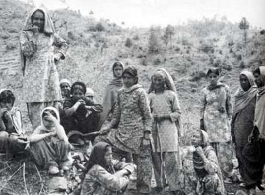 Women in the Chipko Movement in India discussing deforestation