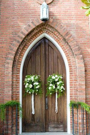 Wedding Ideas: Church-Door-Wreaths-green-white