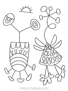 abstract coloring pages Miro Art