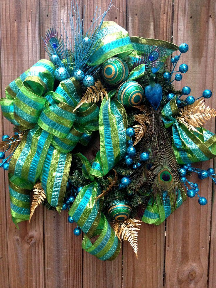 Teal And Lime Green Peacock Christmas Wreath Peacock