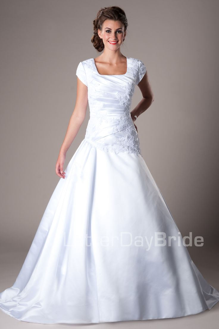 Modest Wedding Dresses : Mormon LDS Temple Marriage   Hemsworth Just Add  Some Sleeves And Higher The Neck A Little, And This Dress Is Perfection.