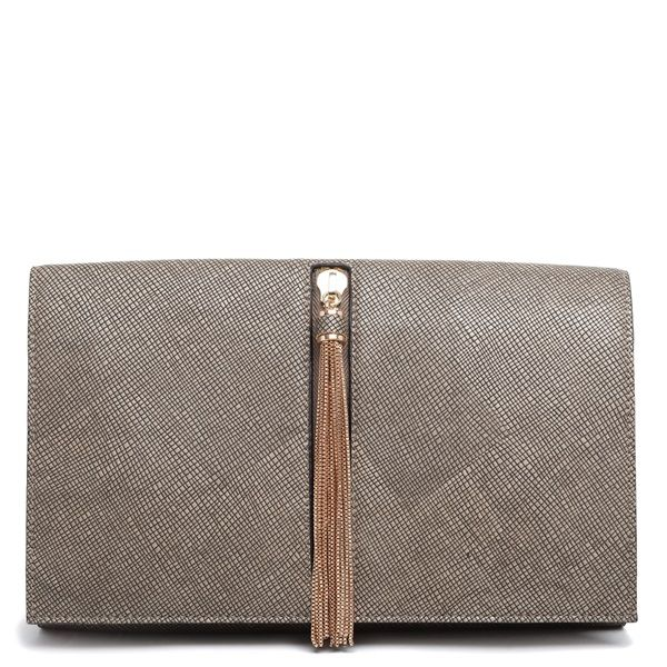 Olive green clutch with gold decorative zipper and tassel.