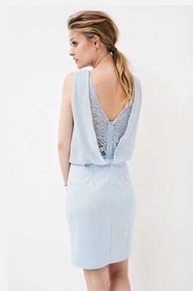 Blauwe jurk open rug Tramontana lente 2016