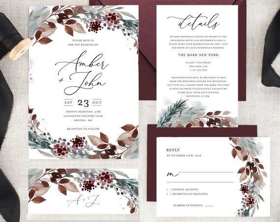 Printable Winter Wedding Invitation Template Suite Instant Etsy Winter Wedding Invitations Wedding Invitations Wedding Invitation Templates