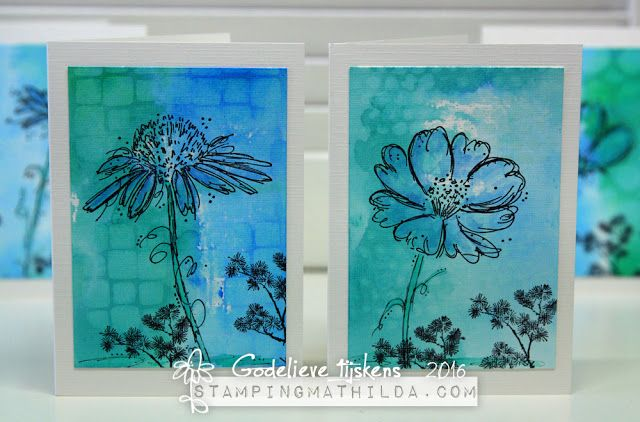 Cards by Godelieve Tijskens using Darkroom Door Fine Flowers Rubber Stamps.