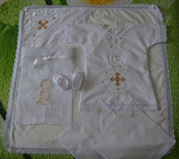 Купить Именные крестильные комплекты для мальчиков-белые - крестильный комплект, крестильная рубашка, крыжма