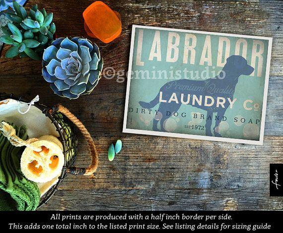 Labrador dog laundry company laundry room artwork giclee