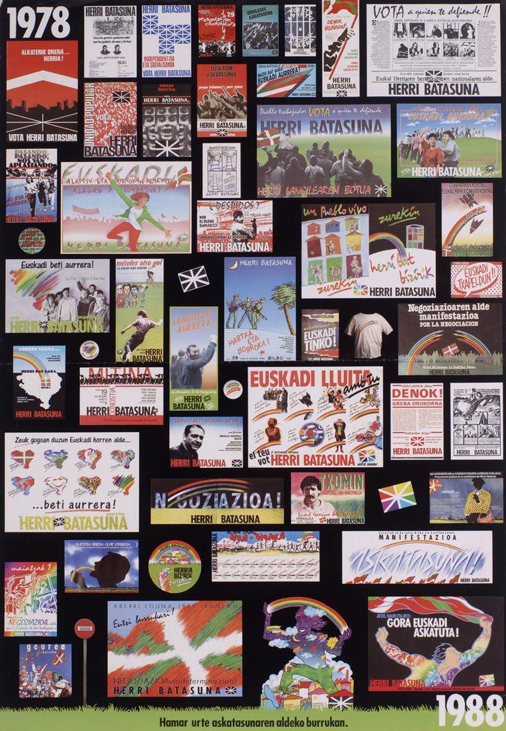 1 lám. (cartel): col.; 98x68 cm. Carteles realizados por Herri Batasuna entre los años 1978-1988
