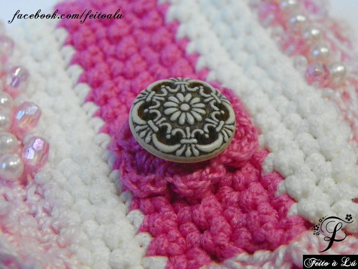 Crochet Jewelry - Pink Affection  Crochet cuff, decorated with glass beads and white pearl beads and crochet roses. The colors are white, pink and light pink. It is made with high quality line.   The distance from the button to its hole is 16cm.  #crochet #crochetjewelry #crocheting #bracelete #bangle #bracelet #fashion #beadedbracelets #crochetcuff #crochetbeadework #crochetroses #crochetflowers
