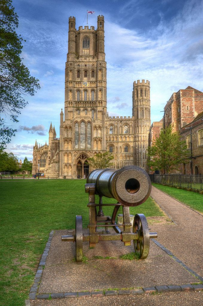 The cannon on the green outside Ely Cathedral was captured from the Russians in Sebastopol and given to Ely City by Queen Victoria in 1860 after the Crimean War. Her gift was in recognition of the successful formation of the Ely Rifle Volunteers.  This beautiful Norman cathedral, which is quite unlike any other in England, dates from the early 12th century. It is on the site of a much earlier monastery founded by St Etheldreda in 673AD. Destroyed by the Danes, it was refounded as a…