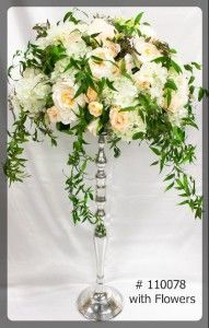 Silver Stand 27 inch tall with 7 inch plate with flowers   110078