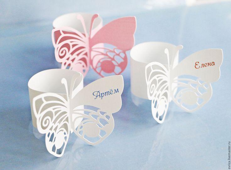 """Купить """"Бабочки"""" Рассадочные карточки - комбинированный, карточки для рассадки, кольцо для салфетки, свадьба, свадебные аксессуары"""