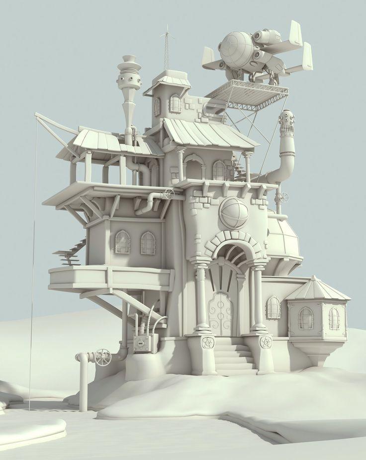 The mad scientist home - WIP., Raphael Baldini on ArtStation at https://www.artstation.com/artwork/the-mad-scientist-home-wip