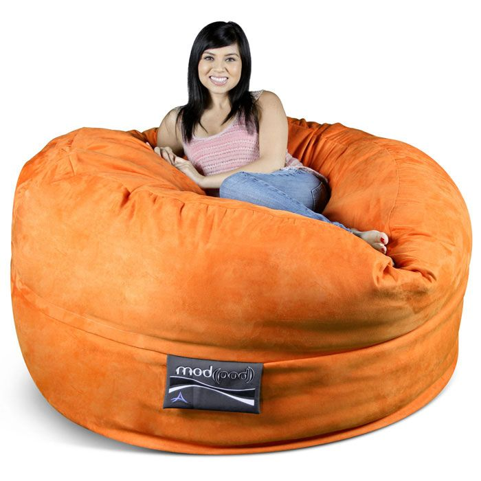 Mod Pod 50 Inch Suede Bean Bag Pumpkin Orange Bean Bag Chair Bean Bag Furniture Cool Bean Bags