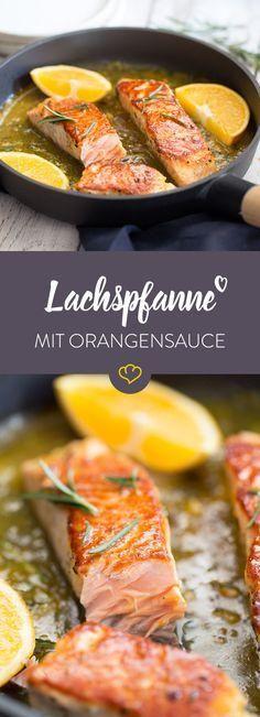 Lachspfanne mit Orangen-Rosmarin-Sauce