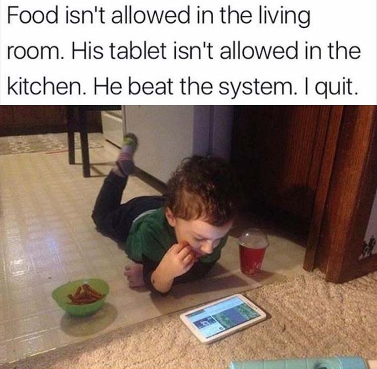 Of a certainty he 'beat the system'! You allow him to lay on the floor and eat rather than sit at the table!