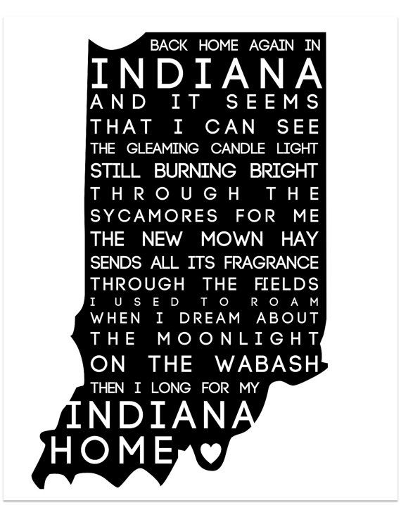 Back Home Again in Indiana Typography Print  by CoCoStineDesigns, $15.00