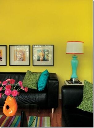 Decor Living Room With Neon Design Accessories