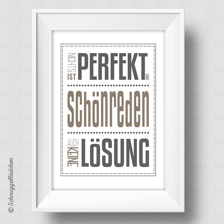 Schönreden - Kunstdruck von Schnuggellaedchen, Typografie, Typography, Typo Print, Art Print, Druck, Dekoration, homestyle, Acceessoires, Designstück, Wandbild, grau, beige, anthrazit, Schönreden, Lösung