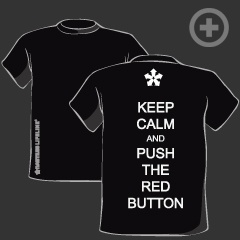 """""""Keep Calm and Push the Red Button"""" T-shirt in Black"""