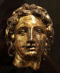 A bronze bust in gold leaf of Alexander the Great (356-323 BC) Found in the National Roman Museum, in Rome, Italy.