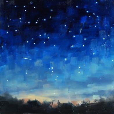 Oil painting of Lyrid Meteors