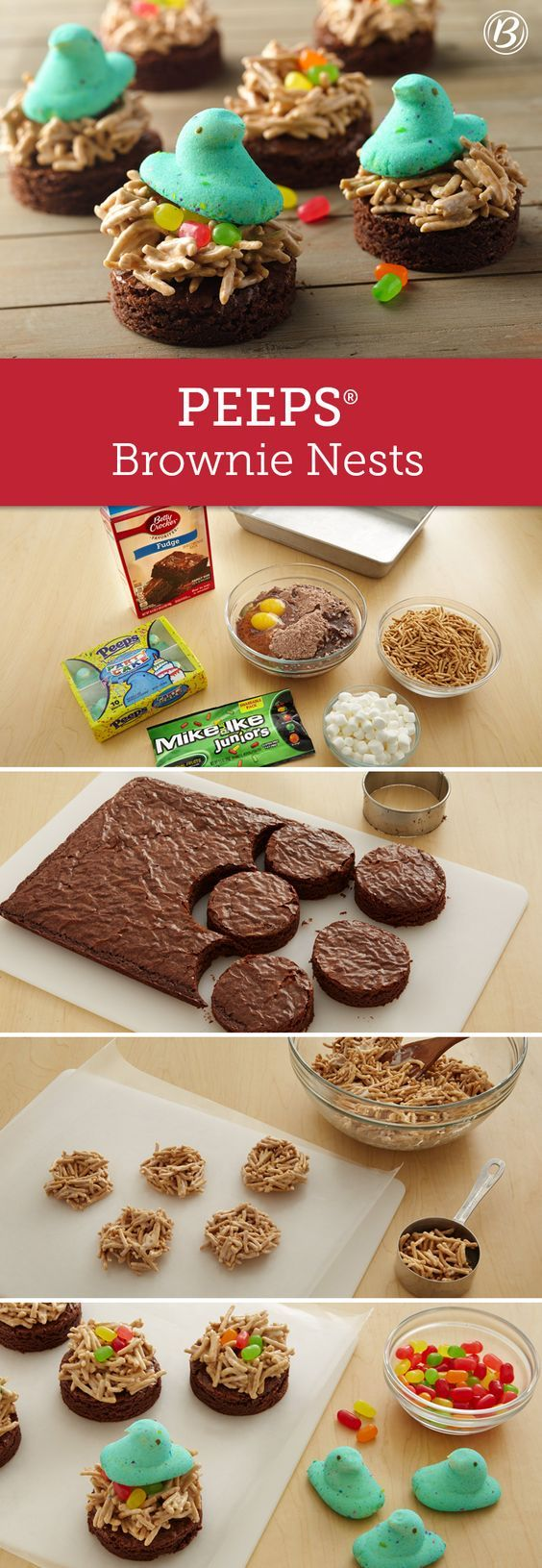 Brownies make the perfect base for these spring nests featuring adorable PEEPS® chicks and colorful Mike and Ike™ juniors candy. A fun addition to any Easter party spread!: